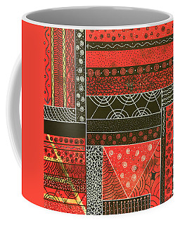 Coffee Mug featuring the mixed media Spotaneous Red by Riana Van Staden