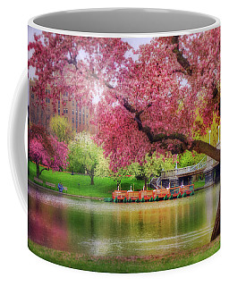 Coffee Mug featuring the photograph Spring Afternoon In The Boston Public Garden - Boston Swan Boats by Joann Vitali