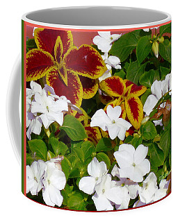 Coffee Mug featuring the pyrography Spring Annuals by Elly Potamianos