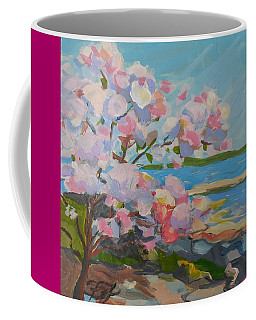 Coffee Mug featuring the painting Spring Blooms By Sea by Francine Frank