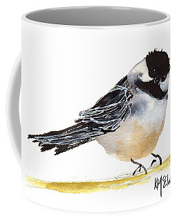 My Little Chickadee Bird Art Watercolor And Gouache And Ink Painting By Kmcelwaine Coffee Mug
