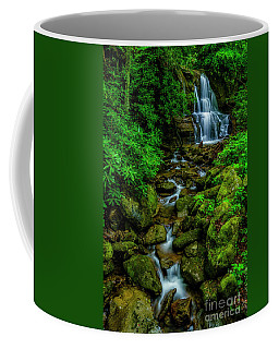 Coffee Mug featuring the photograph Spring Green Waterfall And Rhododendron by Thomas R Fletcher