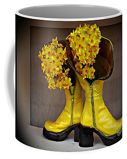 Spring In Yellow Boots Coffee Mug
