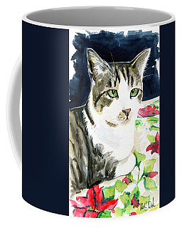 Coffee Mug featuring the painting Spring Is In The Air - Cat Painting by Dora Hathazi Mendes