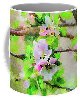 Coffee Mug featuring the painting Spring On A Branch by Steven Santamour