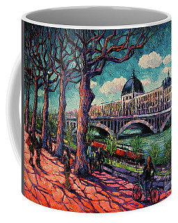 Spring On The Banks Of The Rhone - Lyon France - Modern Impressionist Oil Painting By Mona Edulesco Coffee Mug