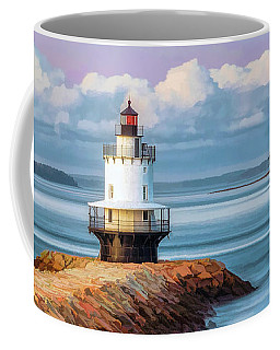 Coffee Mug featuring the painting Spring Point Ledge Lighthouse by Christopher Arndt