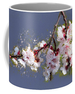 Coffee Mug featuring the painting Spring Promise - Apricot Blossom Branch by Menega Sabidussi