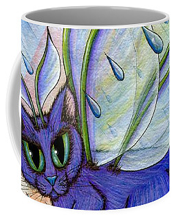Coffee Mug featuring the painting Spring Showers Fairy Cat by Carrie Hawks
