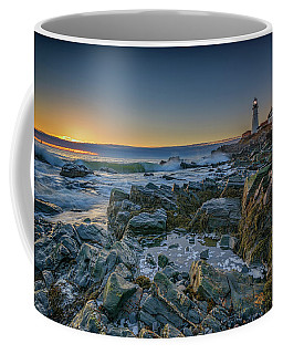 Spring Sunrise At Portland Head Coffee Mug by Rick Berk