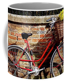 Coffee Mug featuring the photograph Spring Sunshine And Shadows - Bicycle In Cambridge by Gill Billington