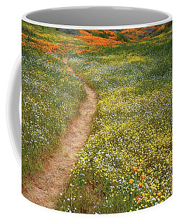 Spring Trail Through A Sea Of Wildflowers At Diamond Lake In California Coffee Mug