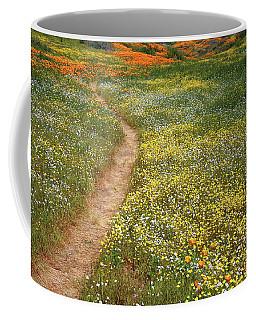 Spring Trail Through A Sea Of Wildflowers At Diamond Lake In California Coffee Mug