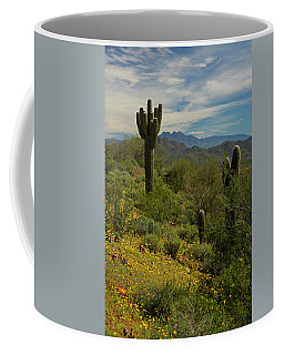 Spring View Of Four Peaks Coffee Mug by Sue Cullumber