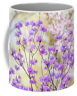 Coffee Mug featuring the photograph Spring Watercolors. Blooming Rhododendron  by Jenny Rainbow