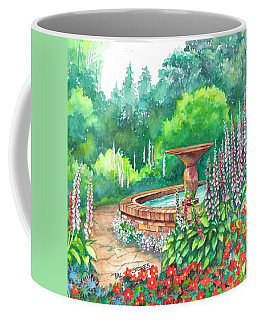 Coffee Mug featuring the painting Springtime Fountain by Val Stokes
