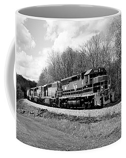 Coffee Mug featuring the photograph Sprintime Train In Black And White by Rick Morgan
