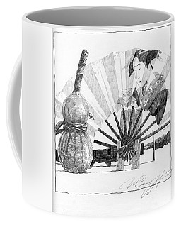 Spirit Of Japan. Pumpkin Jar And Fan Coffee Mug