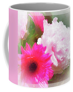 Square Pink Flower Impressions Coffee Mug