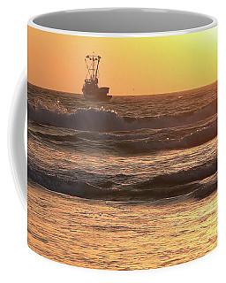 Squid Boat Golden Sunset Coffee Mug