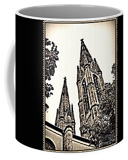 St Boniface Church Towers Sepia Coffee Mug by Sarah Loft