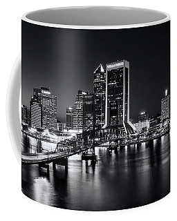 St Johns River Skyline By Night, Jacksonville, Florida In Black And White Coffee Mug