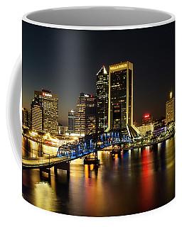 St Johns River Skyline By Night, Jacksonville, Florida Coffee Mug
