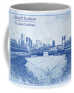 St. Louis Cardinals Busch Stadium Blueprint Words Coffee Mug