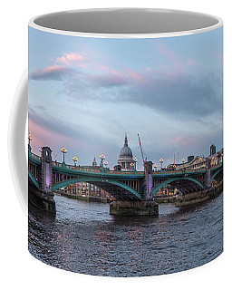 Coffee Mug featuring the photograph St. Paul's Cathedral Behind The Southwark Bridge During Sunset by PorqueNo Studios
