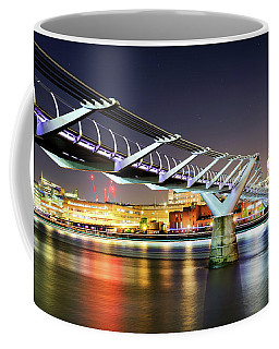 St Paul's Cathedral During Night From The Millennium Bridge Over River Thames, London, United Kingdom. Coffee Mug