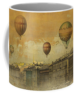 Coffee Mug featuring the digital art St Petersburg With Air Baloons by Jeff Burgess