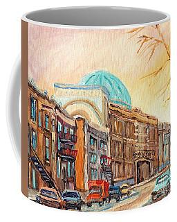 St Urbain Street Scene Baron Byng High School Painting Montreal Memories Carole Spandau              Coffee Mug
