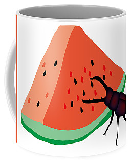Stag Beetle Is Eating A Piece Of Red Watermelon Coffee Mug