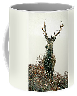 Stag In Snow Coffee Mug