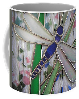 Stained Glass Dragonfly In Reeds By Karen J Jones Coffee Mug