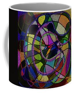 Coffee Mug featuring the digital art Stained Glass Father Mother Child by Iowan Stone-Flowers