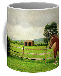 Coffee Mug featuring the photograph Stallion At Fence by Diana Angstadt