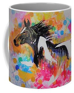 Stallion In Abstract Coffee Mug by Khalid Saeed