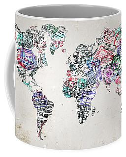 Stamp Art World Map Coffee Mug