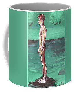 Standig On A Cold Beach With Hesitation  Coffee Mug