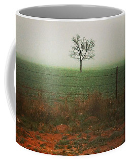 Standing Alone, A Lone Tree In The Fog. Coffee Mug