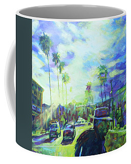 Coffee Mug featuring the painting Stanley And Sunset by Bonnie Lambert