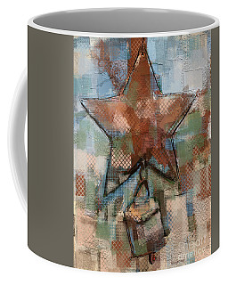 Coffee Mug featuring the mixed media Star Bell by Carrie Joy Byrnes