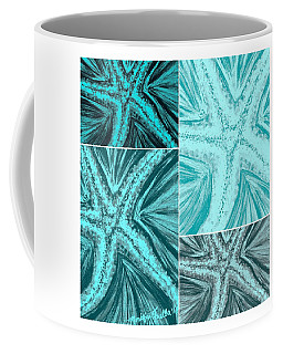 Coffee Mug featuring the mixed media Starfish Pop Art by Monique Faella