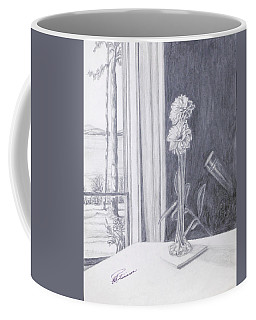 Coffee Mug featuring the drawing Star Gazing by Elly Potamianos