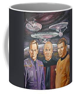 Coffee Mug featuring the painting Star Trek Tribute Enterprise Captains by Bryan Bustard