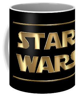 Star Wars Golden Typography On Black Coffee Mug