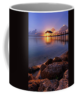 Starburst Sunset Over House Of Refuge Pier In Hutchinson Island At Jensen Beach, Fla Coffee Mug