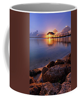 Coffee Mug featuring the photograph Starburst Sunset Over House Of Refuge Pier In Hutchinson Island At Jensen Beach, Fla by Justin Kelefas