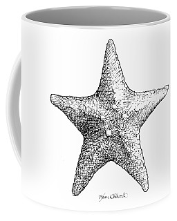 Coffee Mug featuring the drawing Starfish Drawing Black And White Sea Star by Karen Whitworth